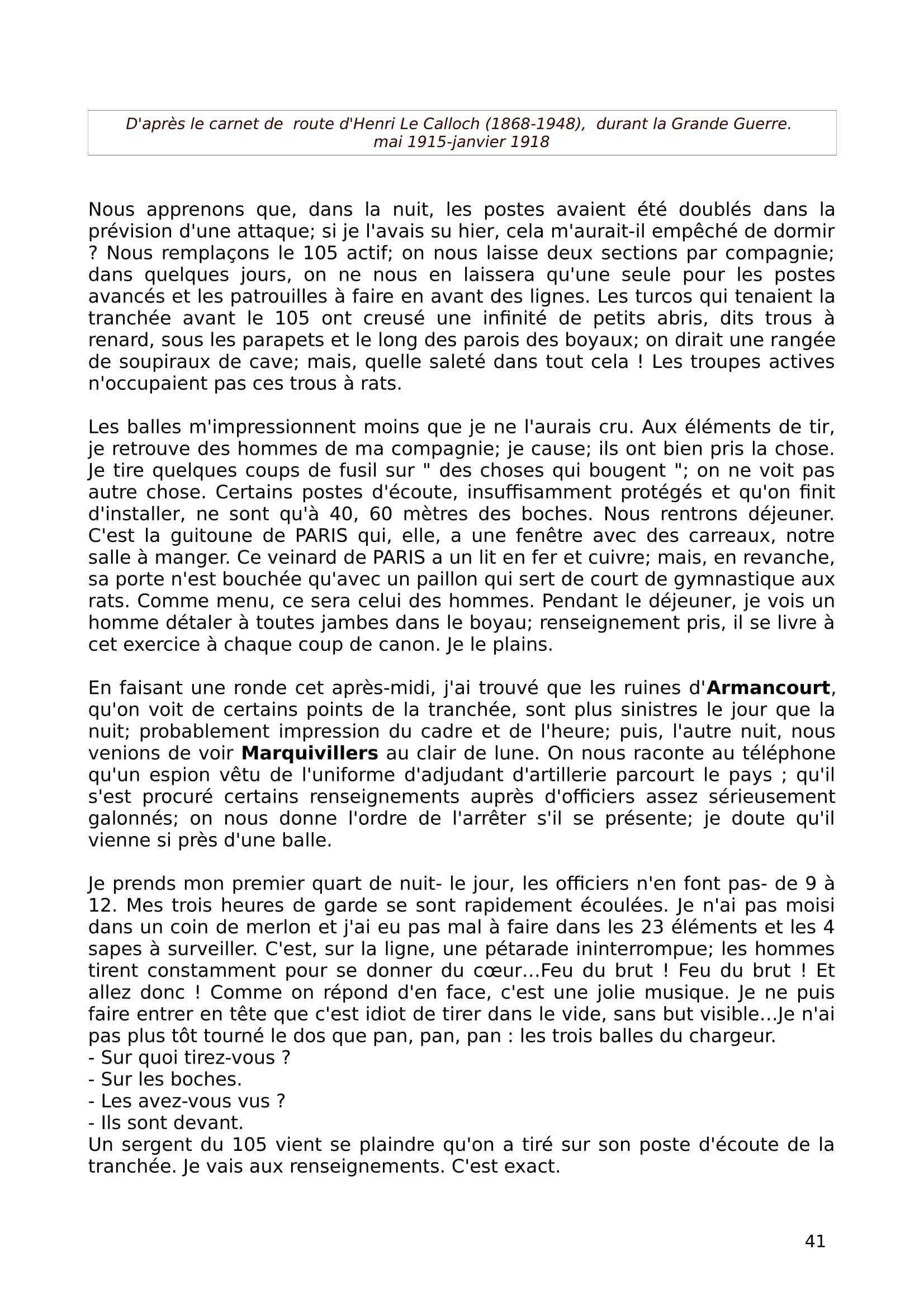 Carnet de route du Lieutenant Henri Le Calloch du 1er mai 1915 au 19 janvier 1918 (version informatisée)