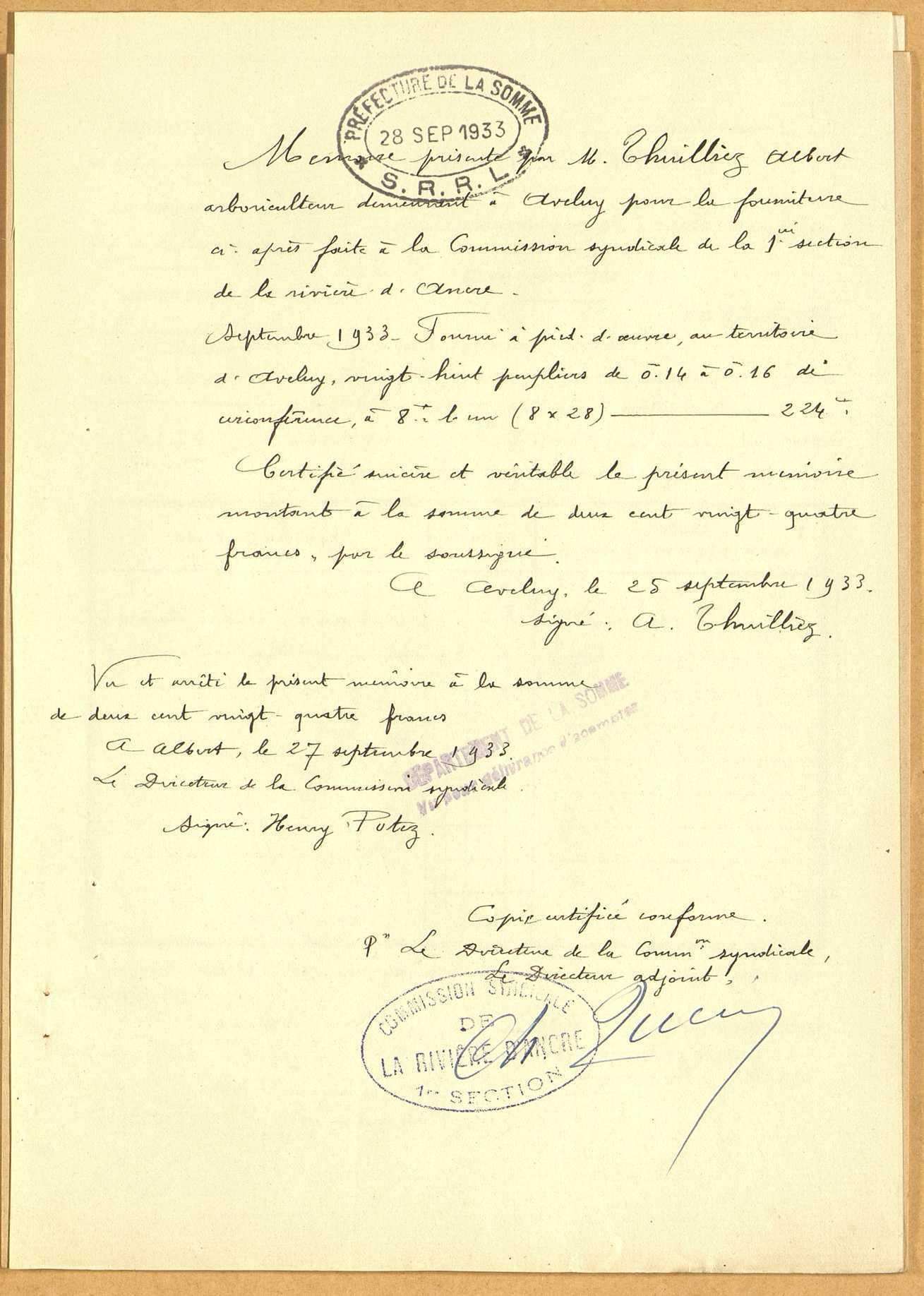 Albert. Demande d'indemnisation des dommages de guerre : dossier du Syndicat de la rivière d'Ancre et de ses affluents