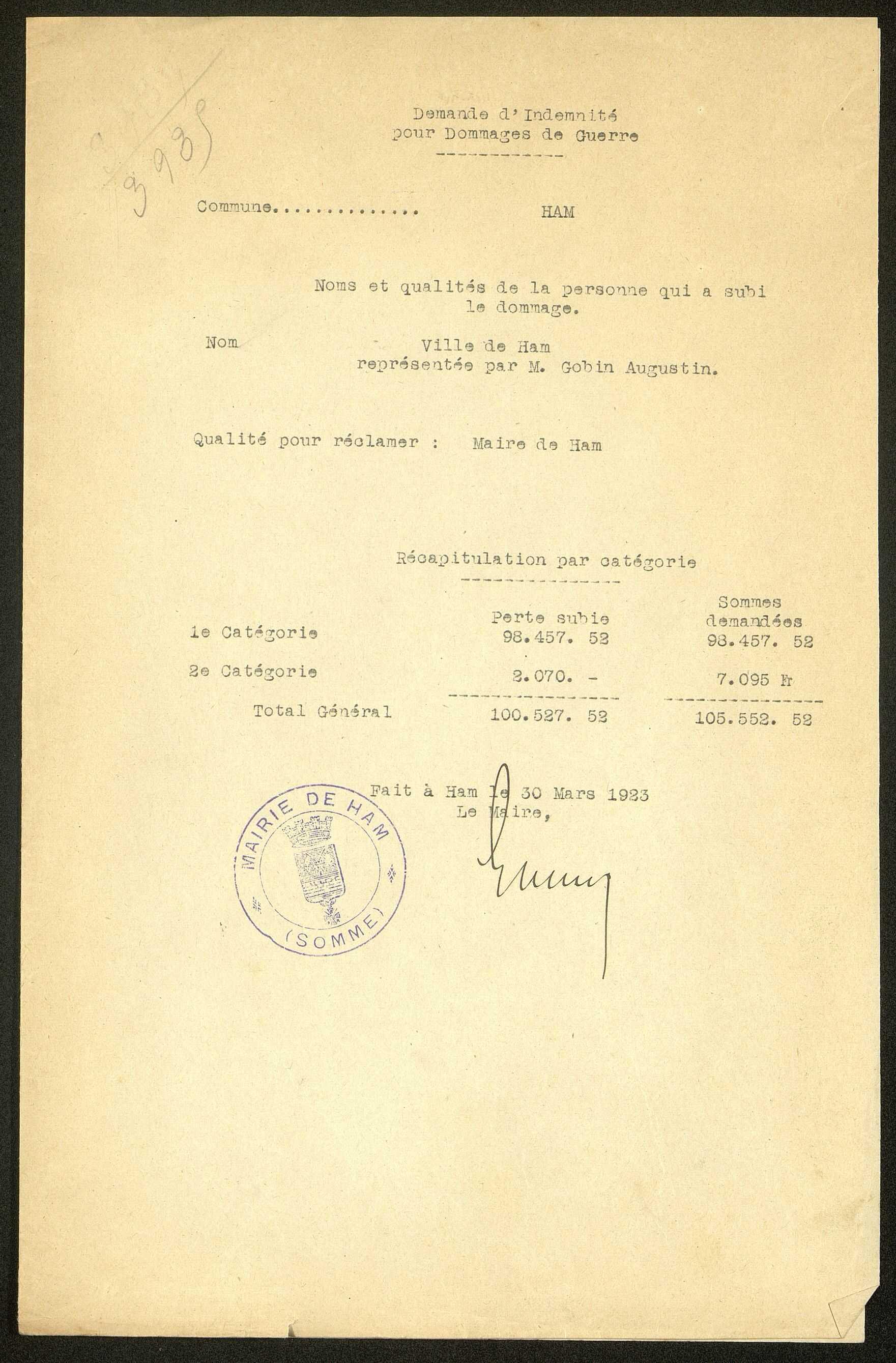 Ham. Demande d'indemnisation des dommages de guerre : dossier Ville de Ham (bâtiments communaux)