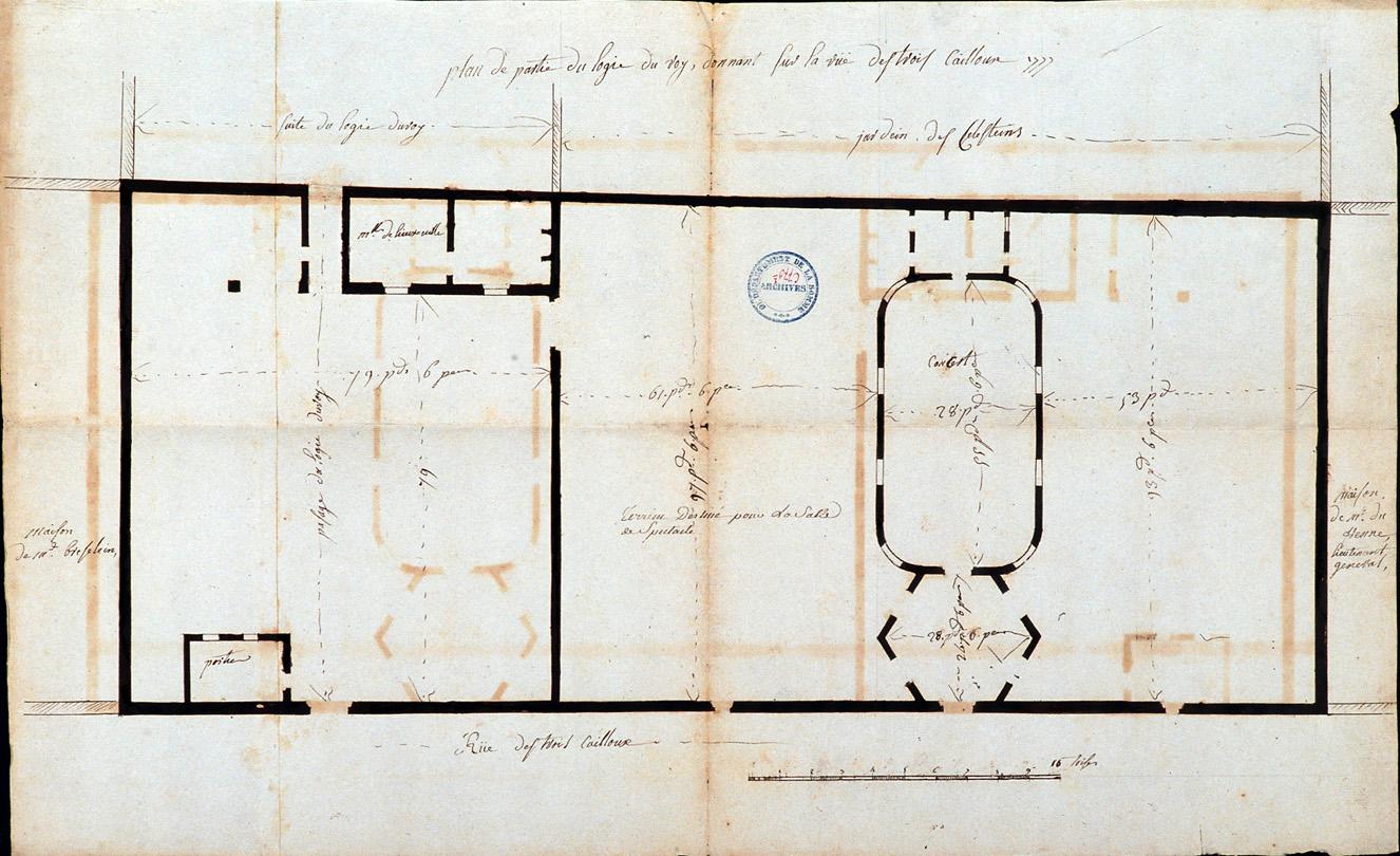 Plan de partie du logis du roy donnant sur la rue des trois cailloux 1777