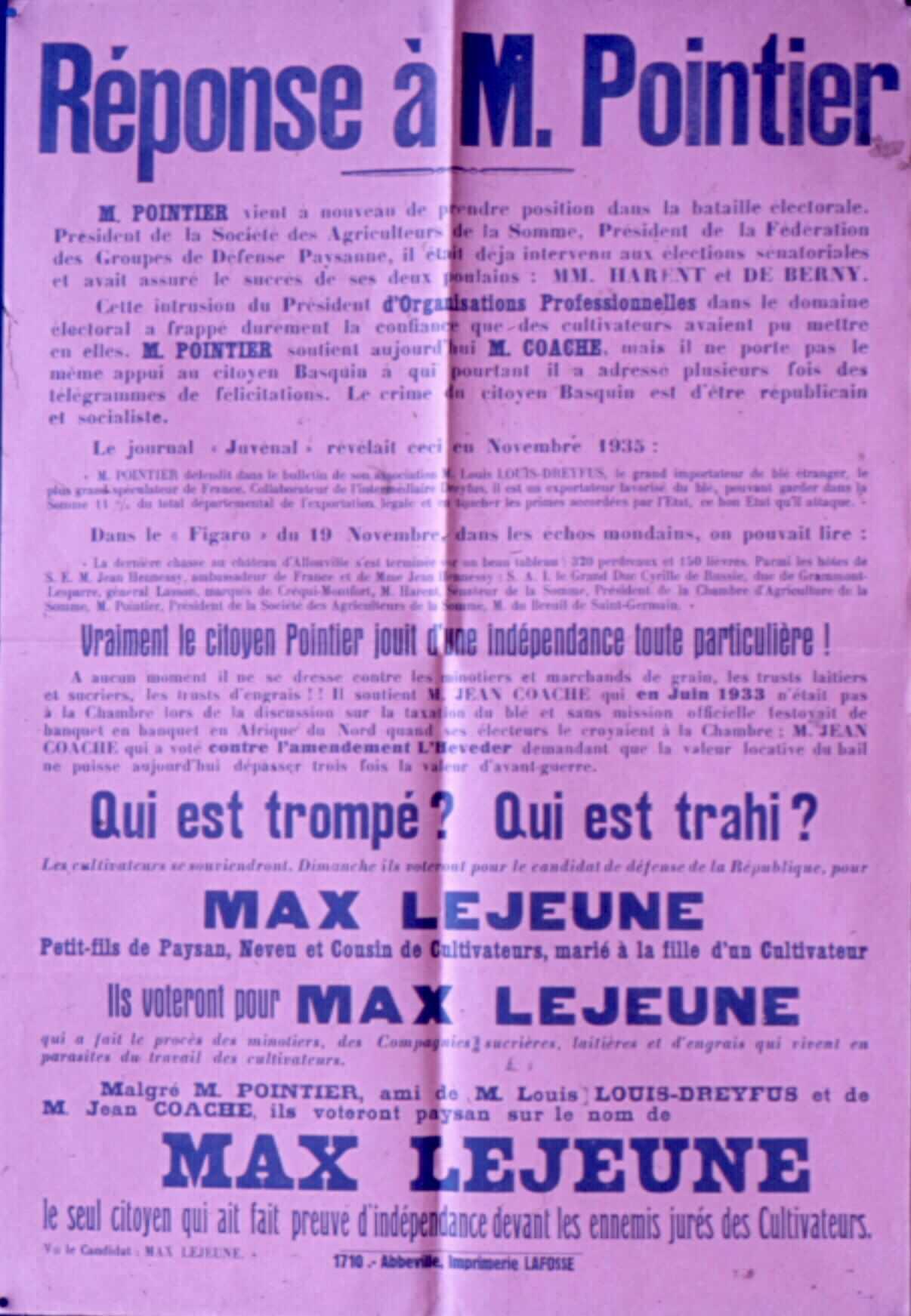 Réponse à M. Pointier... Max Lejeune