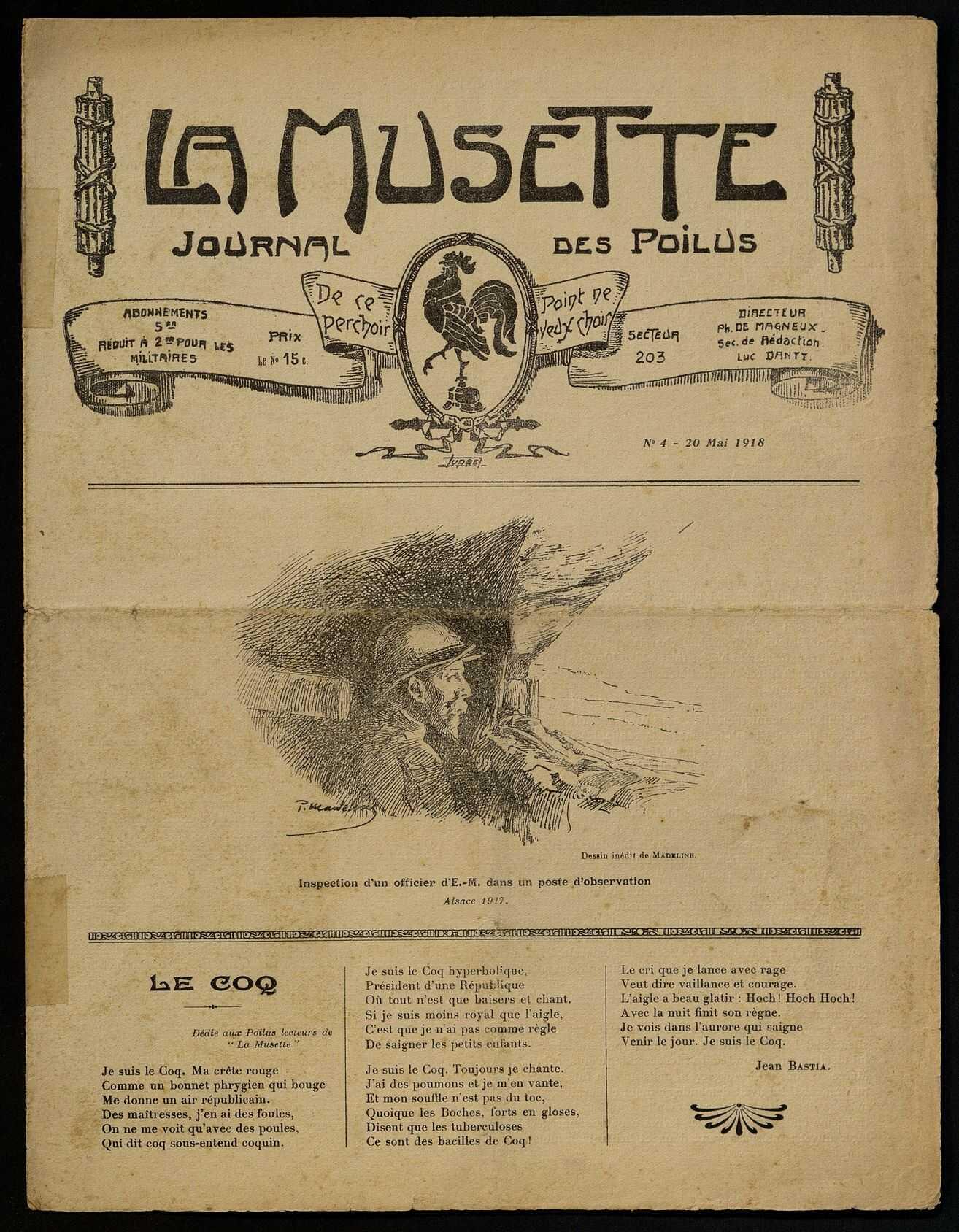 LA MUSETTE. JOURNAL DES POILUS
