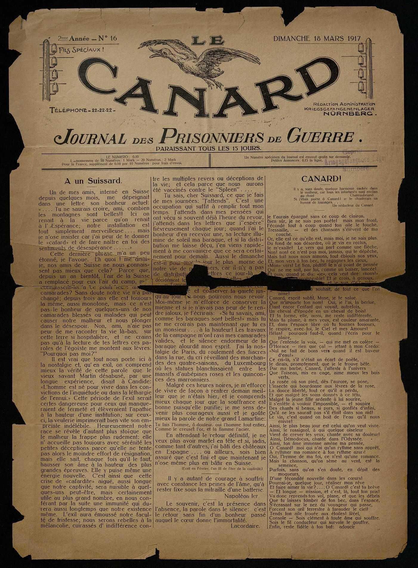 LE CANARD. JOURNAL DES PRISONNIERS DE GUERRE