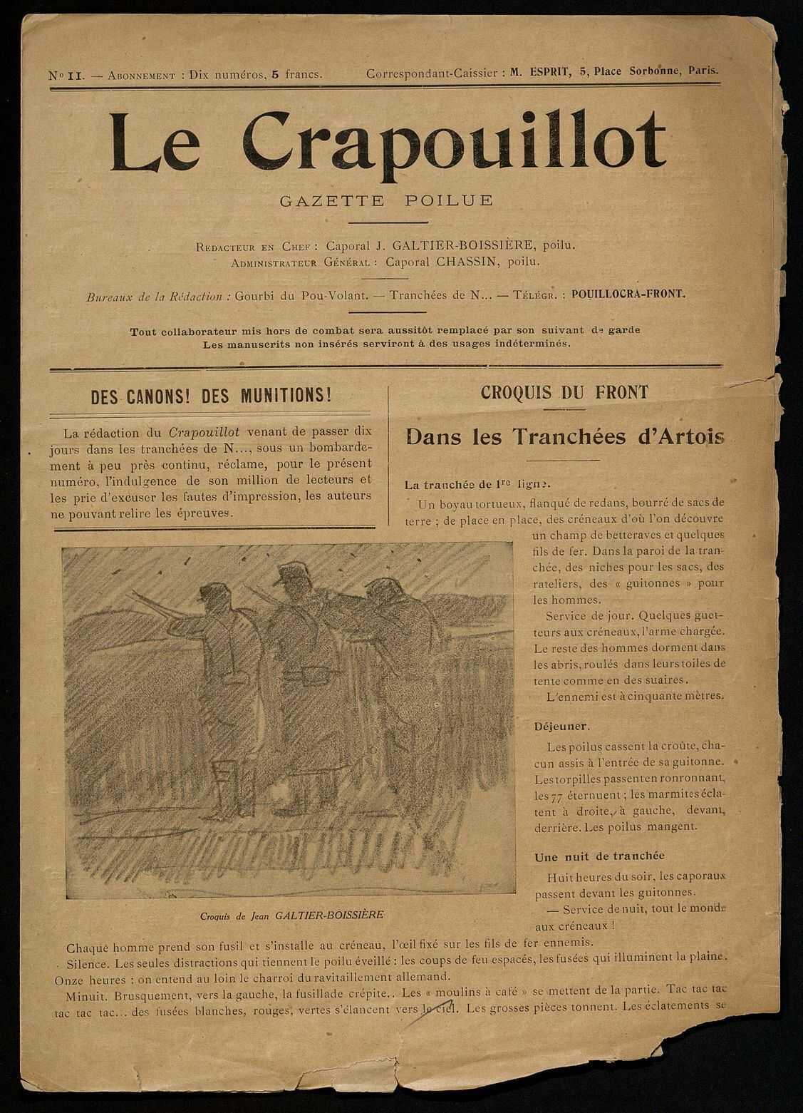 LE CRAPOUILLOT. DES CANONS ! DES MUNITIONS ! DANS LES TRANCHEES D'ARTOIS