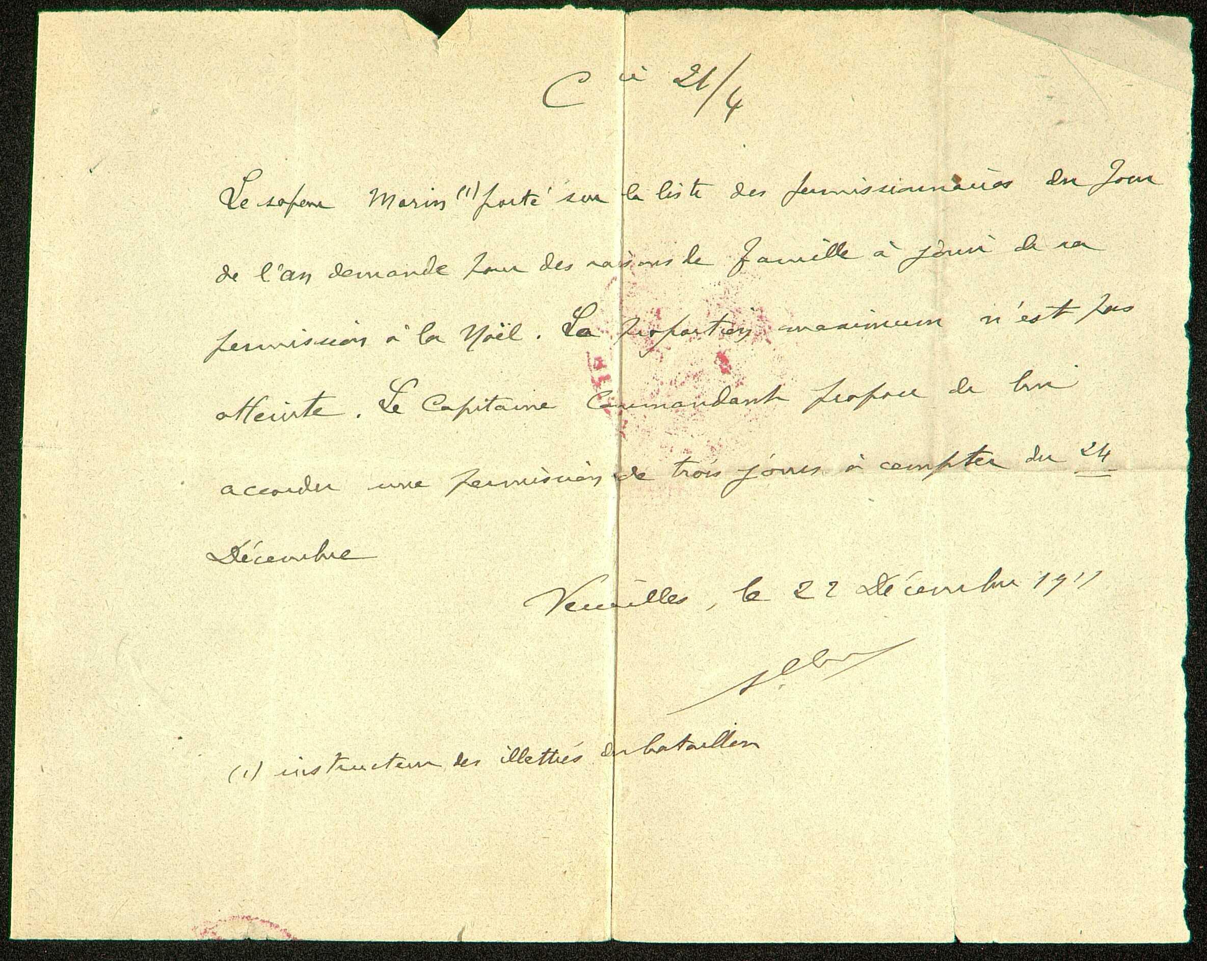 Autorisation de permission pour le jour de noël 1917 accordée à Louis Paul Morin