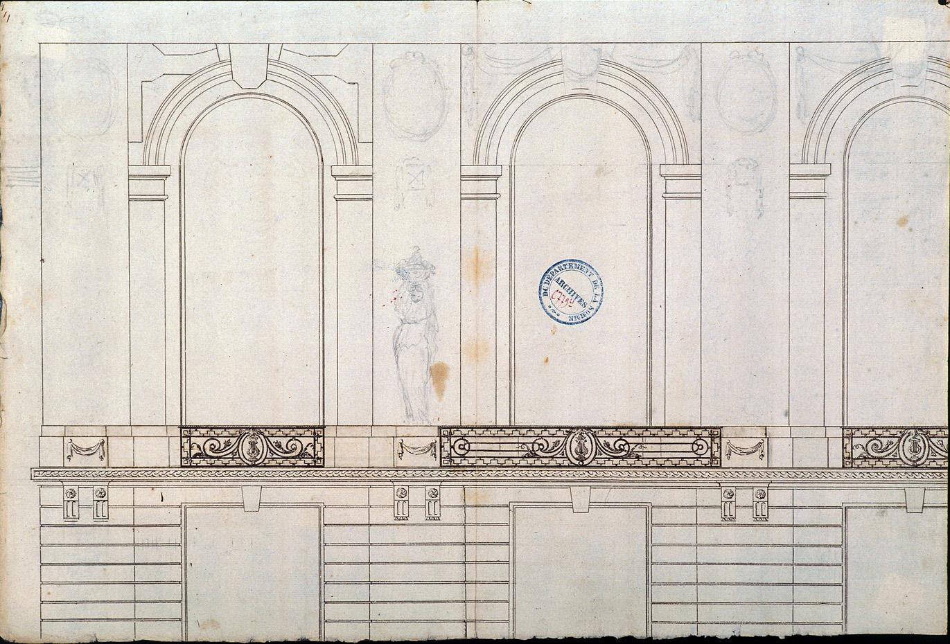 Projet de salle de spectacle, rue des Trois-Cailloux : croquis préparatoire dressé par l'architecte Rousseau pour le décor de la façade principale et les balcons
