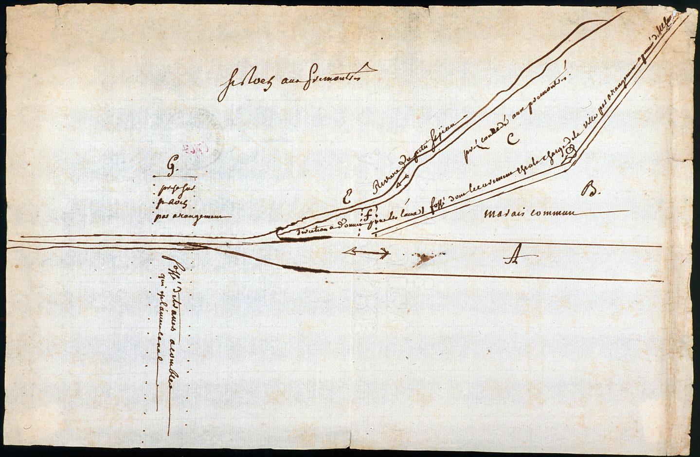 Projet de canalisation du cours de la Hotoie : plan d'expropriation des terrains de l'abbaye prémontré du Petit-saint-Jean