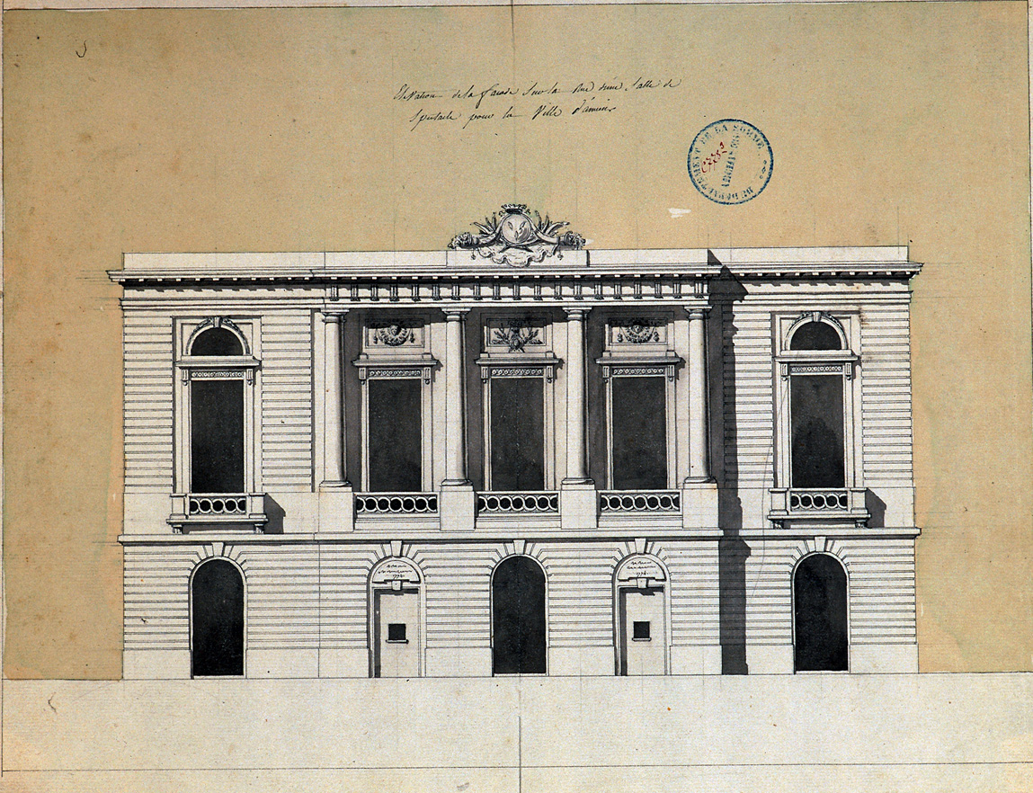 Elévation d'une façade sur la rue d'une salle de spectacle pour la ville d'Amiens