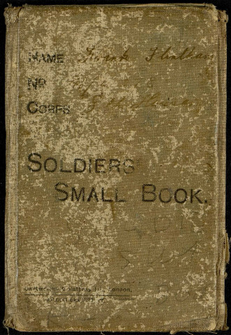 Soldiers small book - Name : Frank Flintham - N° 74 40 78 - Corps : 8th Hussars