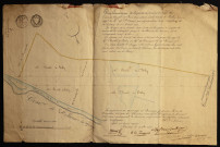 Plan géométrique de la partie de terrain du tracé de l'ancien Canal de Picardie, situé sur le terroir de Belloy-sur-Somme, appartenant à Mr de Saint-Omer, par adjudication à la Préfecture de la Somme le 1er avril 1835