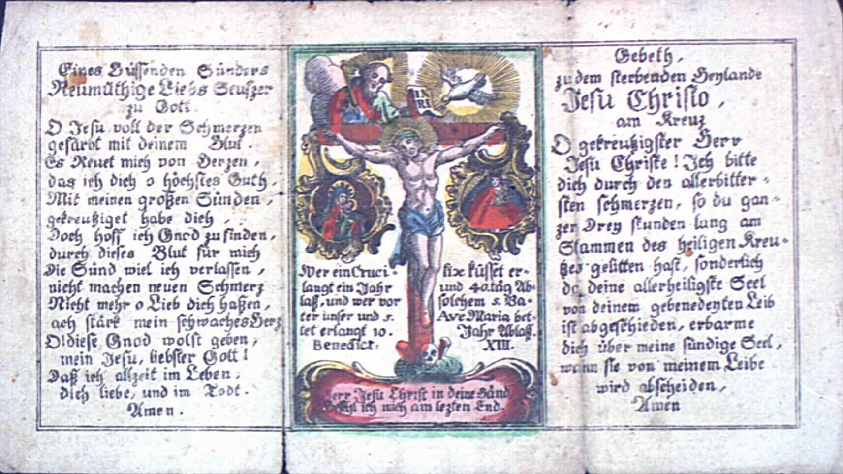 Image pieuse représentant la Crucifixion.