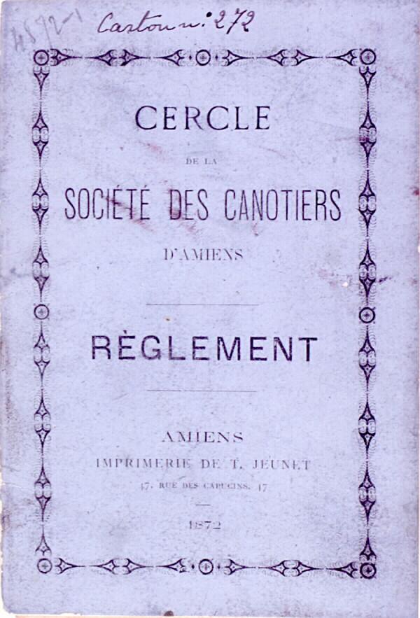 Cercle de la société des canotiers d'Amiens - Règlement