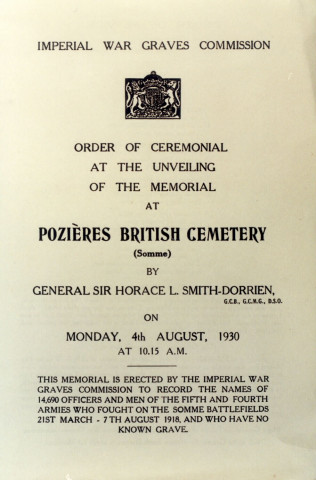 Order of ceremonial at the unveiling of the memorial at Pozières British Cemetery