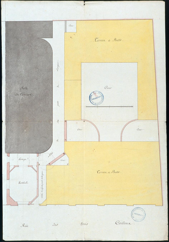 Logis du Roy à Amiens. Plan d'ensemble des bâtiments donnant sur la rue des Trois-Cailloux, figurant le passage cocher et partie du théâtre