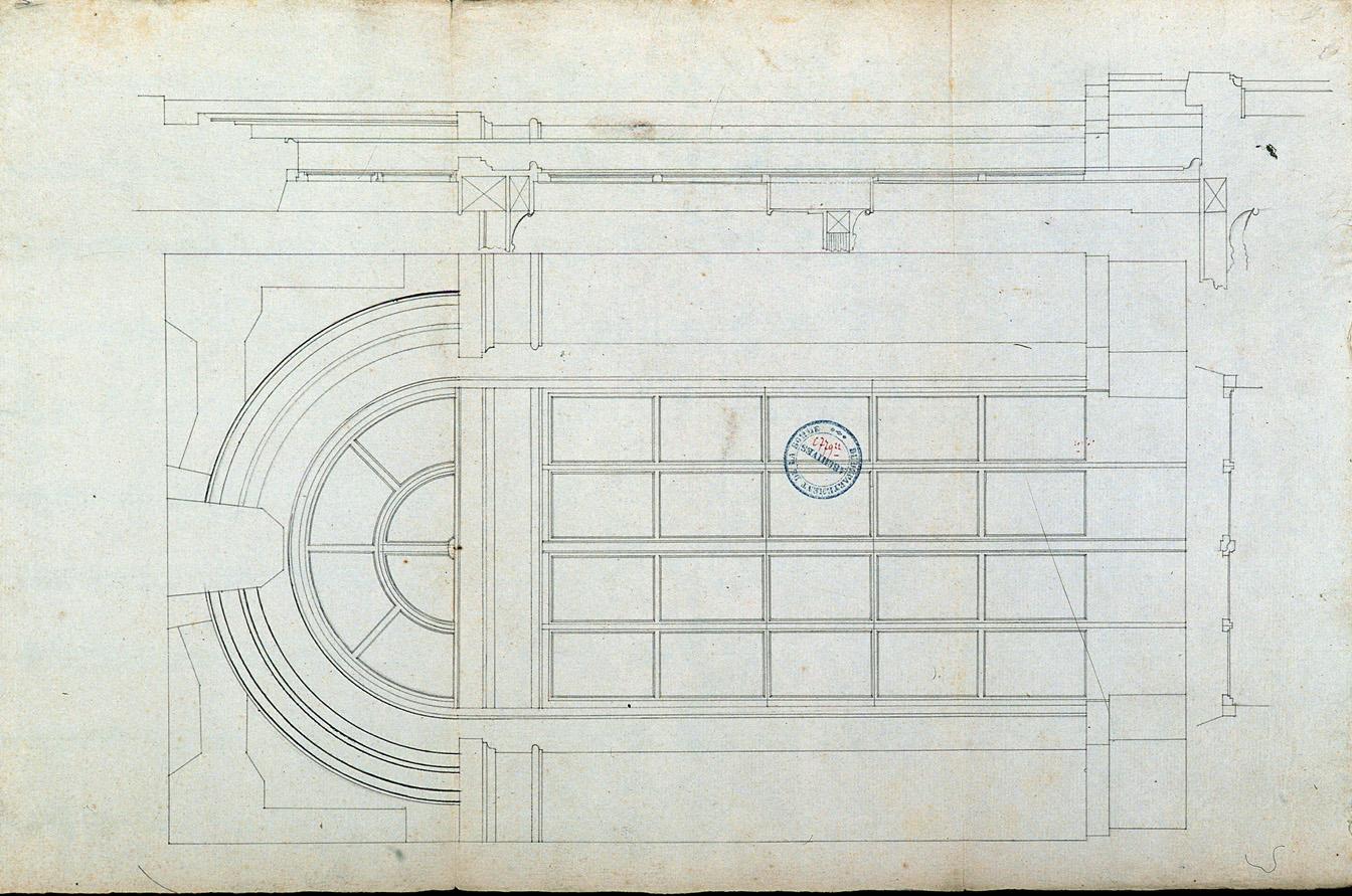 Projet de salle de spectacle, rue des Trois-Cailloux : croquis préparatoire dressé par l'architecte Rousseau pour les fenêtres de la façade principale