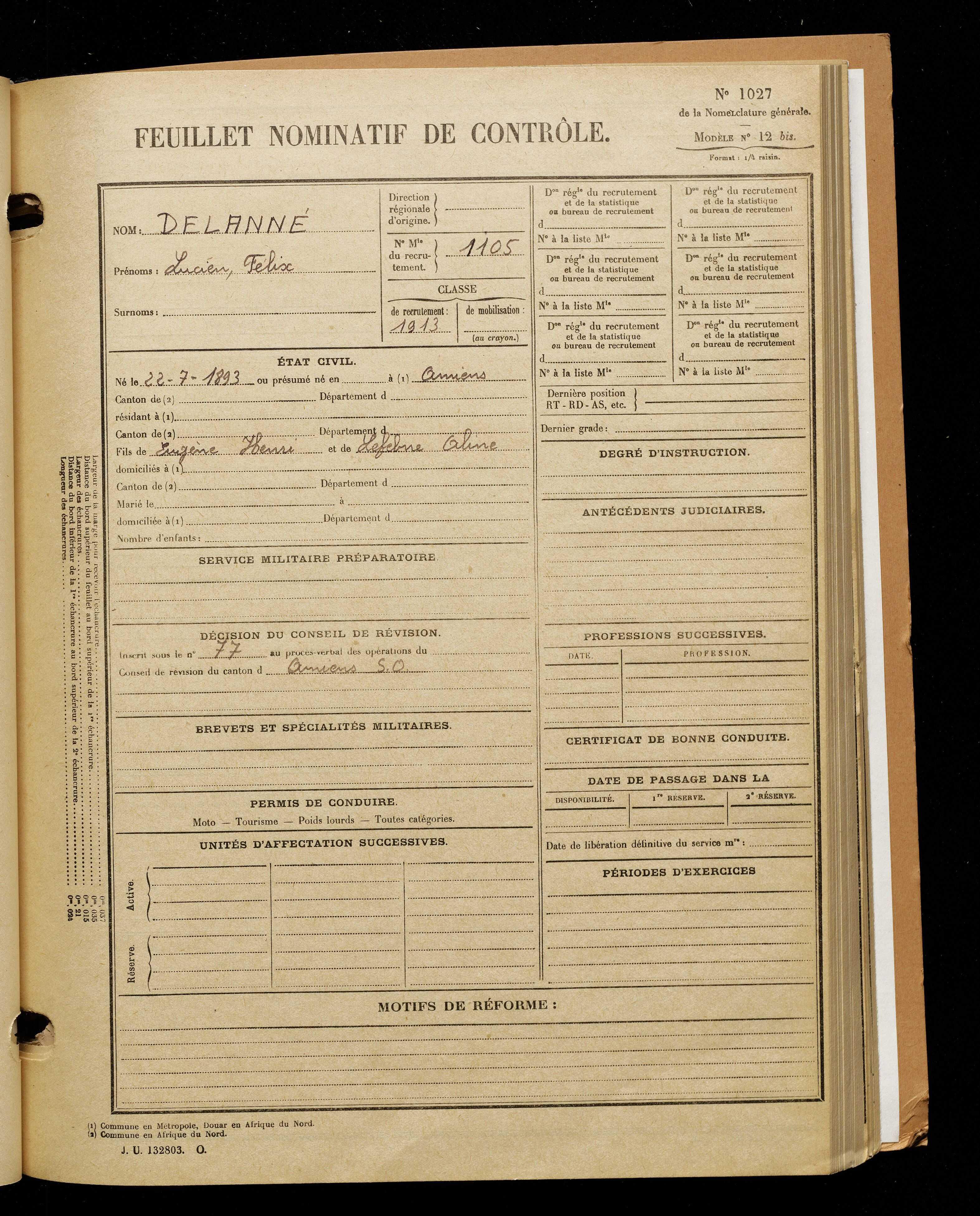 Delauné, Lucien Félix, né le 22 juillet 1893 à Amiens (Somme), classe 1913, matricule n° 1105, Bureau de recrutement d'Amiens