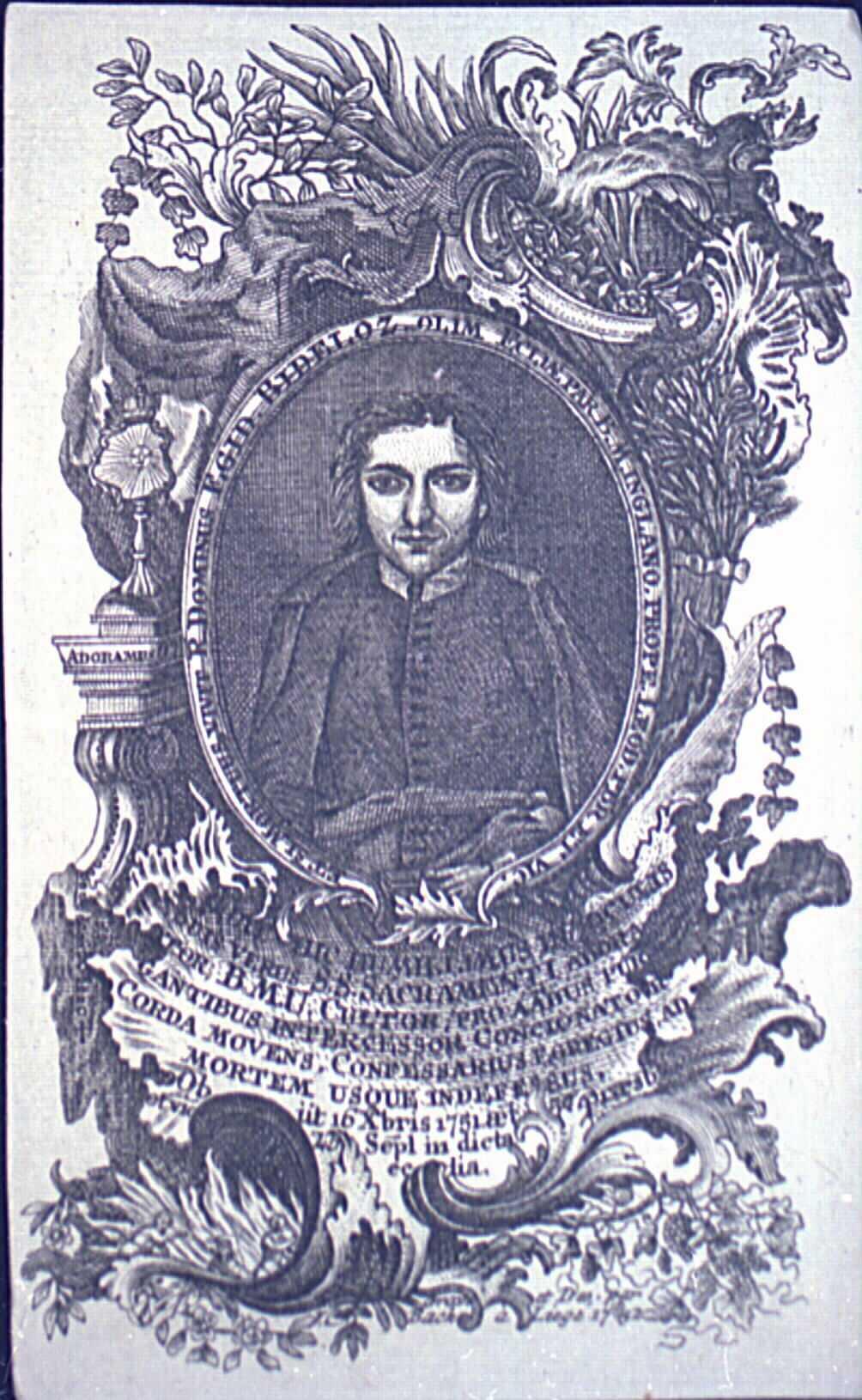Image pieuse mortuaire dédiée à un prêtre.