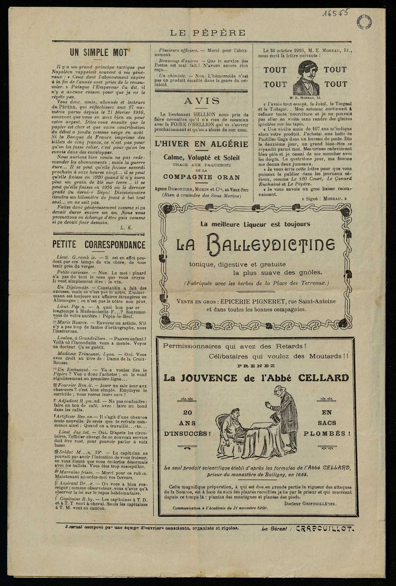 LE PEPERE. JOURNAL GAI DU 359E REGIMENT D'INFANTERIE