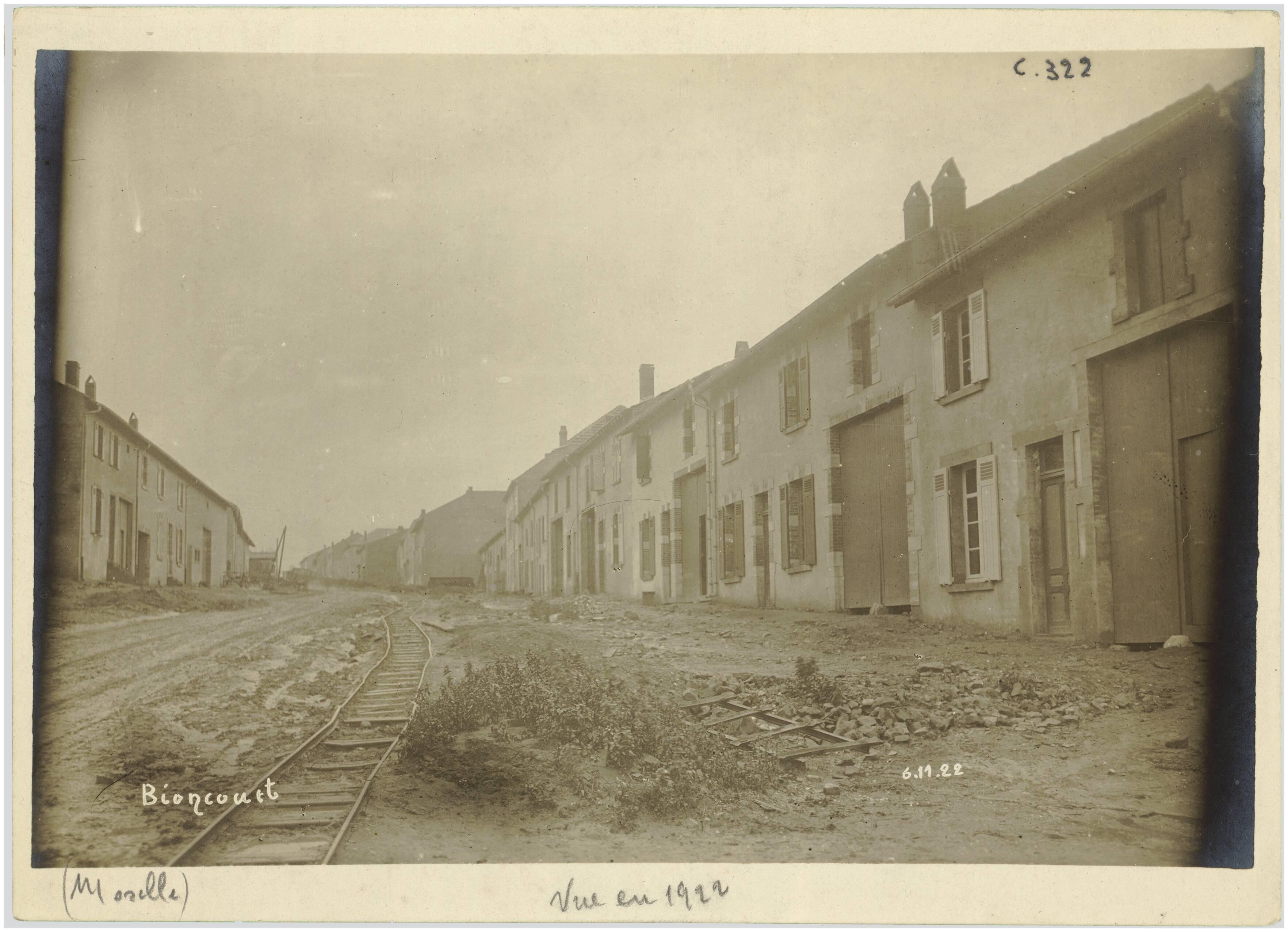 BIONCOURT (MOSELLE). VUE EN 1922