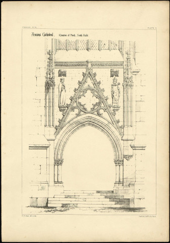 Amiens Cathedral. Elevation of Porch. South Aisle