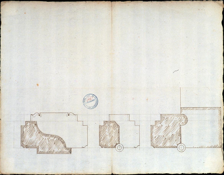 Projet de salle de spectacle, rue des trois cailloux : profil de moulures ou de maçonneries