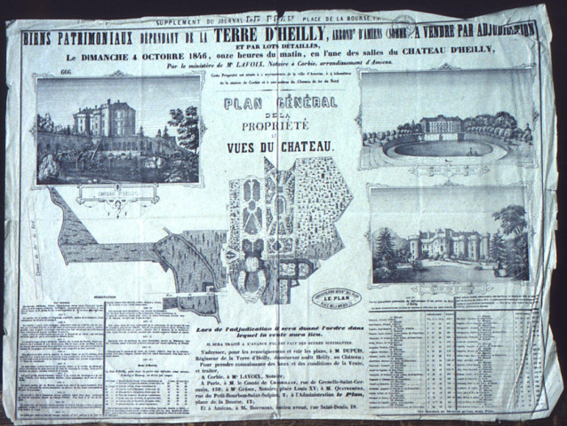 Affiche de vente par adjudication du château d'Heilly