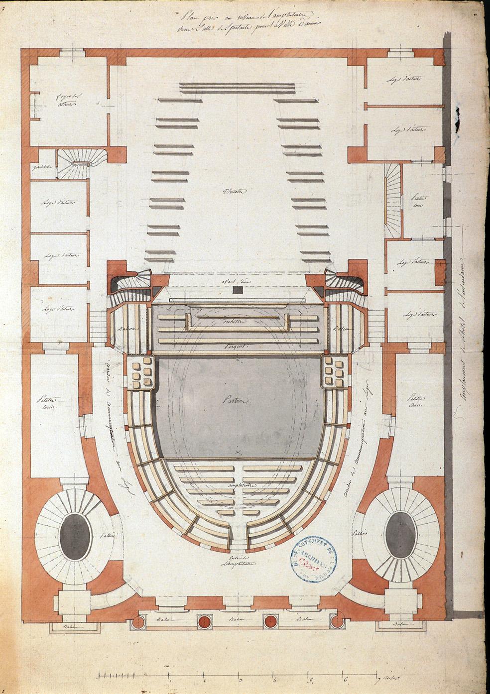 Plan pris au niveau de l'amphithéâtre d'une salle de spectacle pour la ville d'Amiens