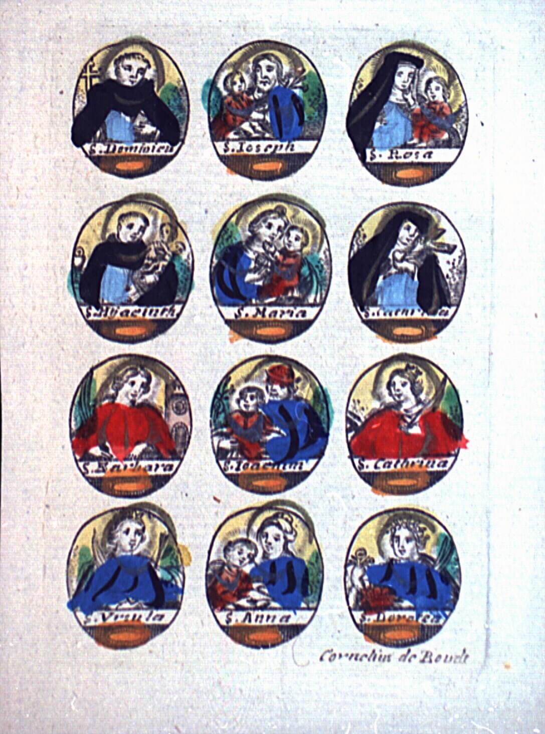 Image pieuse à l'effigie de différents saints.