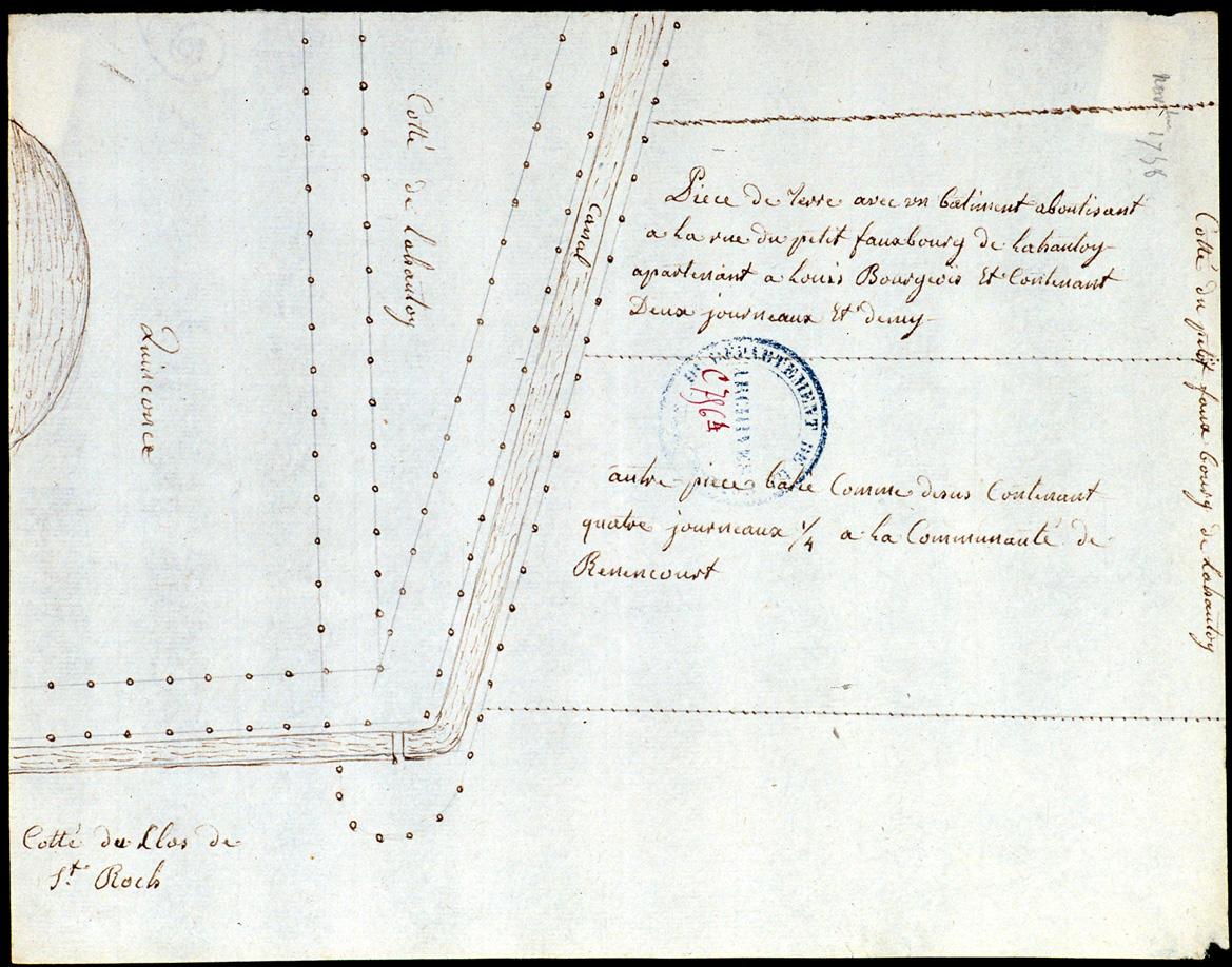 Projet de canalisation du cours de la Hotoie : plan des terrains