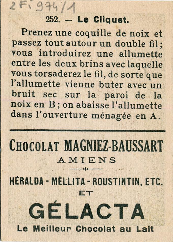 Chocolat Magniez-Baussart, Amiens. Image 252 : Le cliquet