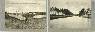 DEUX REPRODUCTIONS DE PHOTOGRAPHIES COLLEES SUR CARTON REPRESENTANT UN CAMPEMENT ALLEMAND (TENTES), LE CANAL DE LA SOMME. LEGENDEES EN ALLEMANDS