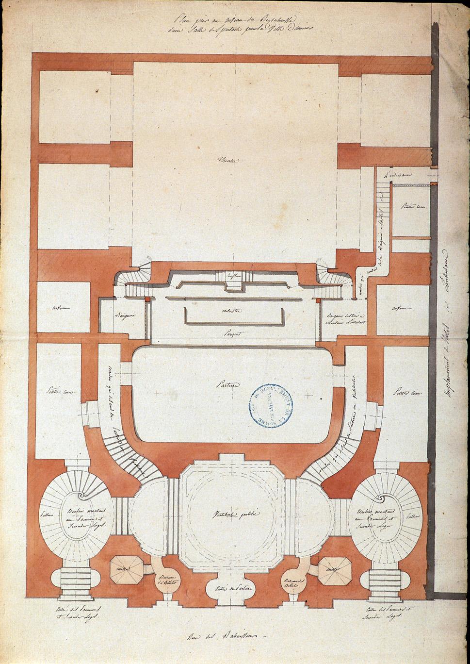 Plan pris au niveau du rez-de-chaussée d'une salle de spectacle pour la ville d'Amiens