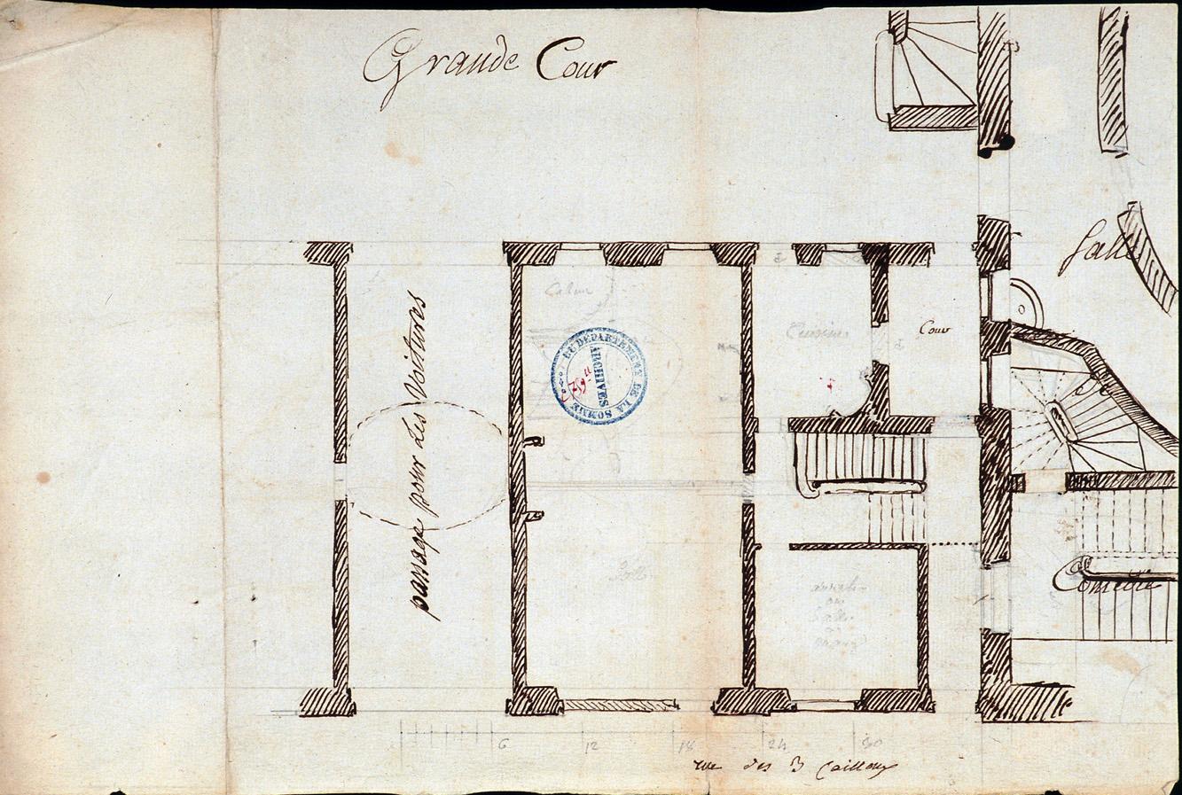 Logis du Roy à Amiens. Plan des bâtiments sur la rue des Trois-Cailloux, figurant le passage cocher et partie du théâtre